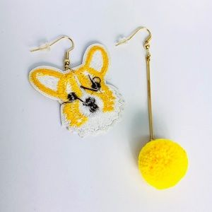 New! Corgi Dog Faux Fur Pom Pom Earrings Yellow